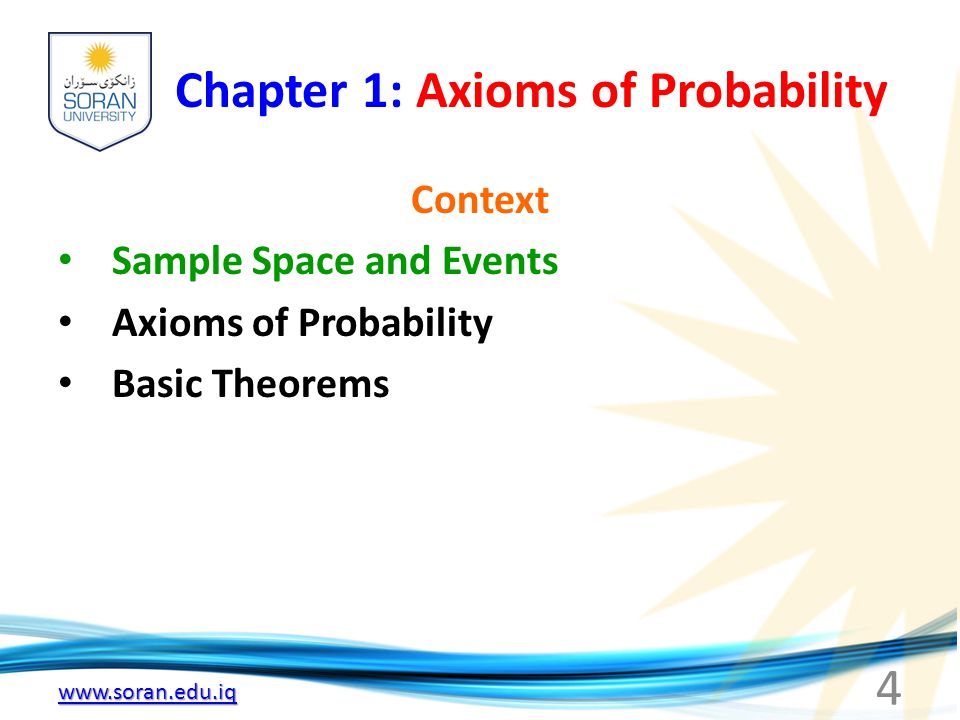 Chapter 1: Axioms of Probability Context Sample Space and Events Axioms of Probability Basic Theorems 4