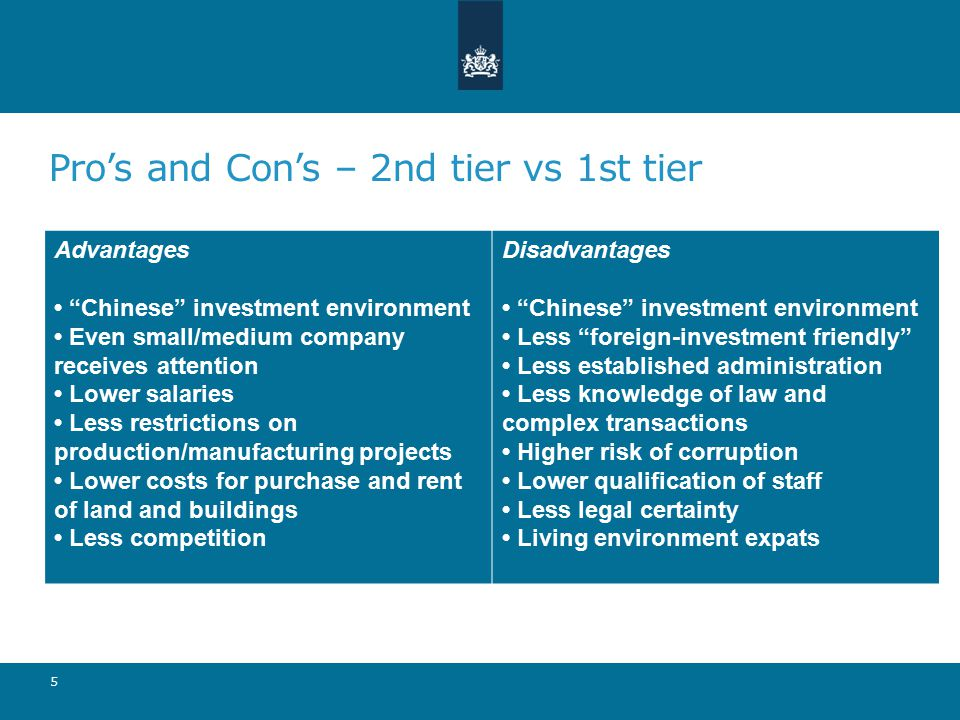 Pro's and Con's – 2nd tier vs 1st tier 5 Advantages Chinese investment environment Even small/medium company receives attention Lower salaries Less restrictions on production/manufacturing projects Lower costs for purchase and rent of land and buildings Less competition Disadvantages Chinese investment environment Less foreign-investment friendly Less established administration Less knowledge of law and complex transactions Higher risk of corruption Lower qualification of staff Less legal certainty Living environment expats