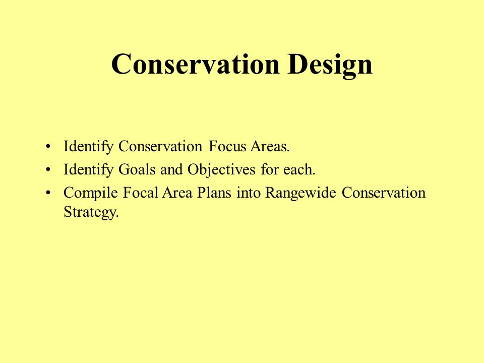 Conservation Design Identify Conservation Focus Areas.