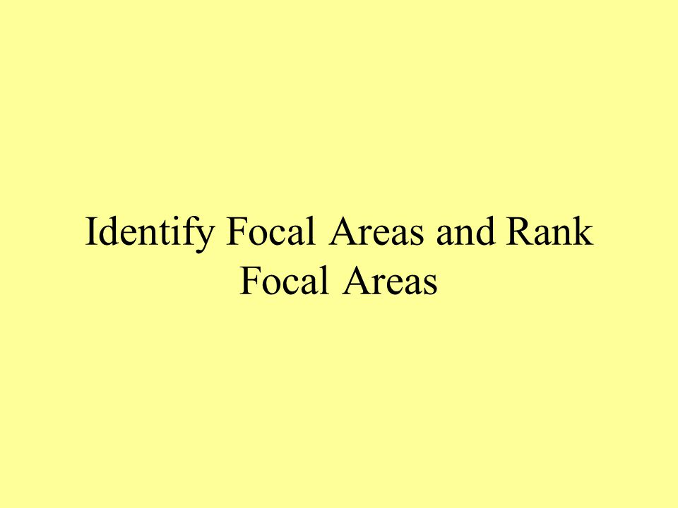 Identify Focal Areas and Rank Focal Areas
