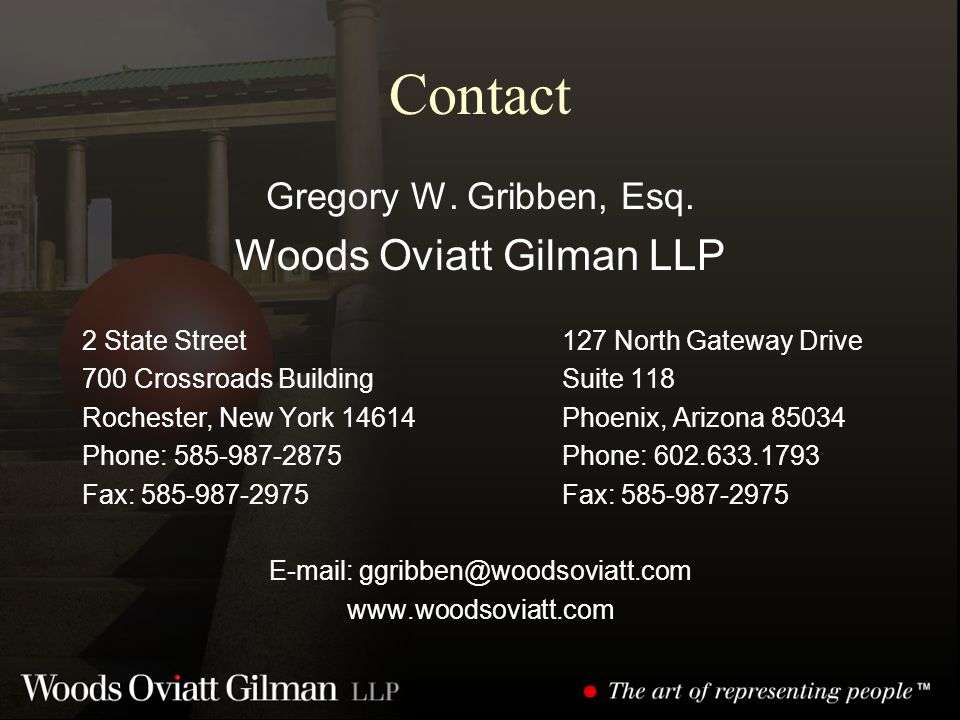 Contact Gregory W. Gribben, Esq.