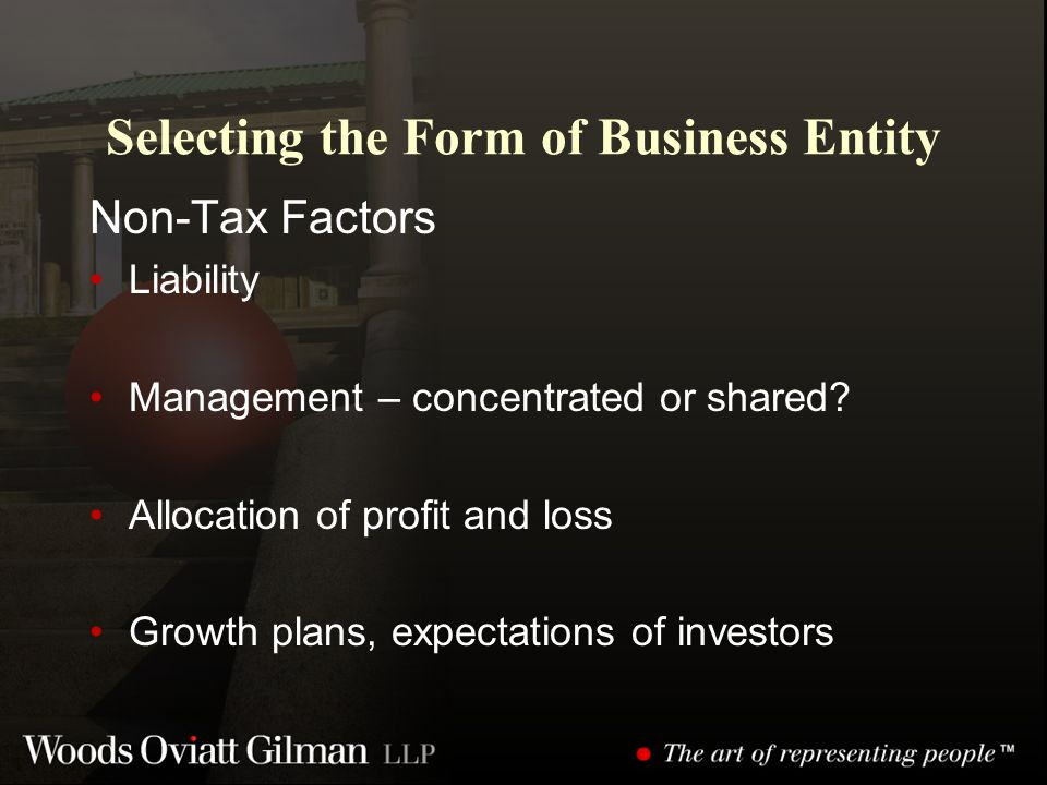 Selecting the Form of Business Entity Non-Tax Factors Liability Management – concentrated or shared.