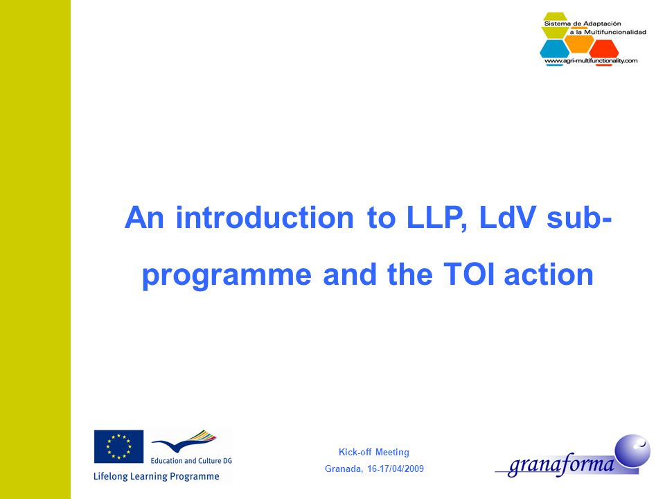 Kick-off Meeting Granada, 16-17/04/2009 An introduction to LLP, LdV sub- programme and the TOI action