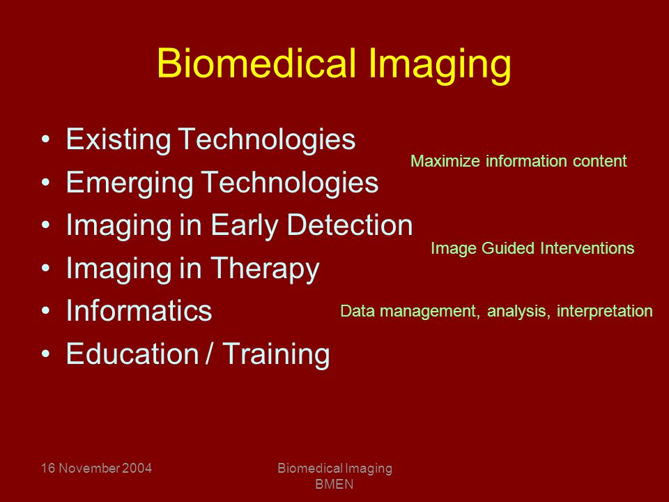 16 November 2004Biomedical Imaging BMEN Biomedical Imaging Existing Technologies Emerging Technologies Imaging in Early Detection Imaging in Therapy Informatics Education / Training Image Guided Interventions Maximize information content Data management, analysis, interpretation