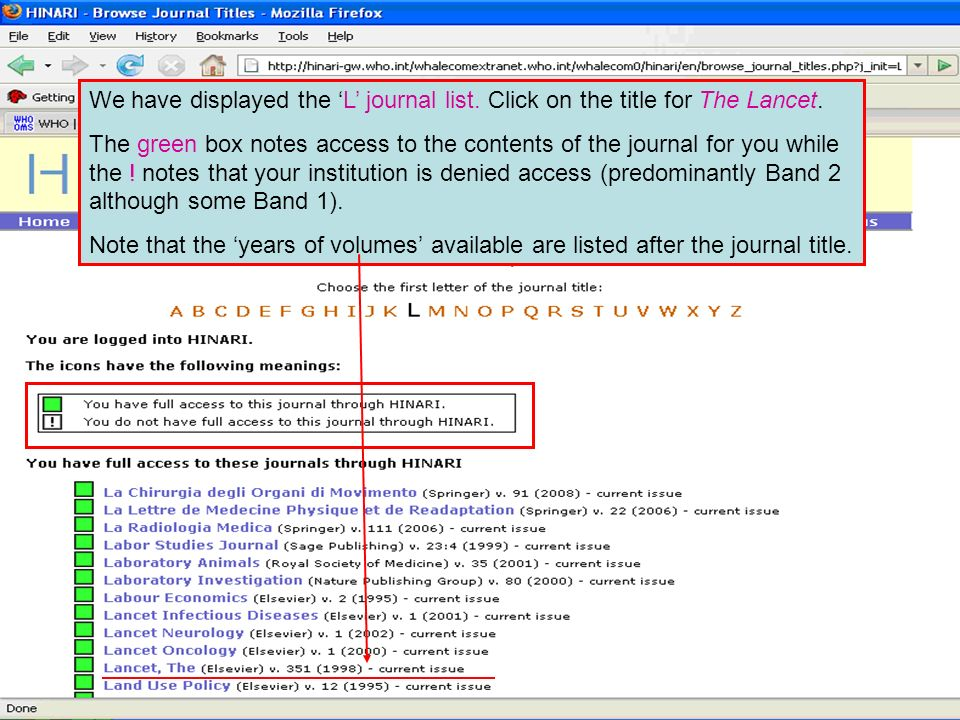 We have displayed the 'L' journal list. Click on the title for The Lancet.