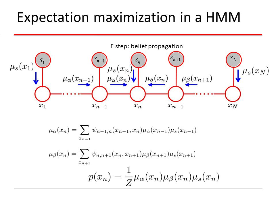 Expectation maximization in a HMM E step: belief propagation
