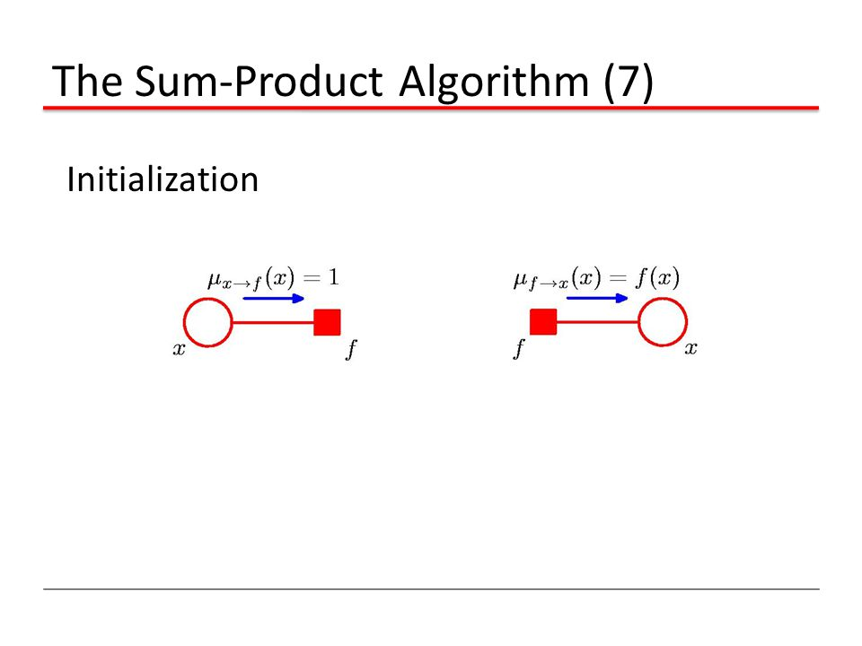 The Sum-Product Algorithm (7) Initialization
