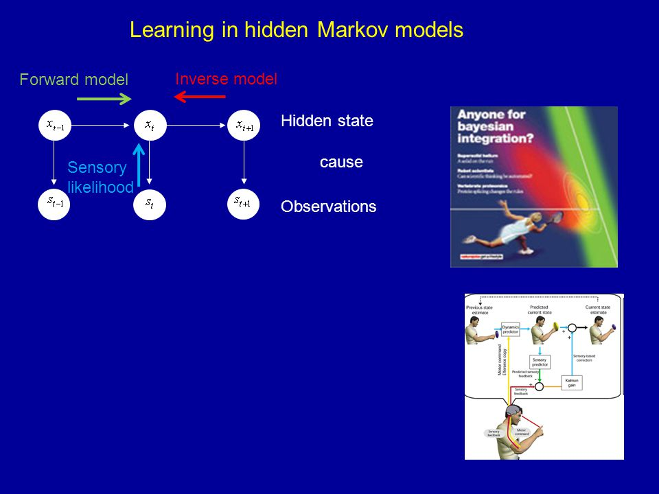 Learning in hidden Markov models Hidden state Observations cause Forward model Sensory likelihood Inverse model