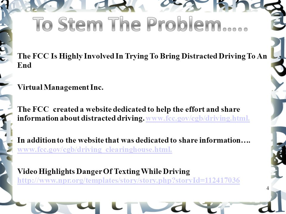 The FCC Is Highly Involved In Trying To Bring Distracted Driving To An End Virtual Management Inc.