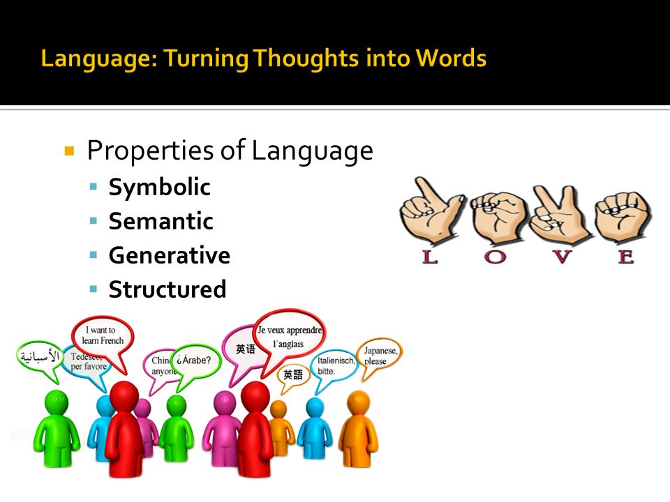  Properties of Language  Symbolic  Semantic  Generative  Structured