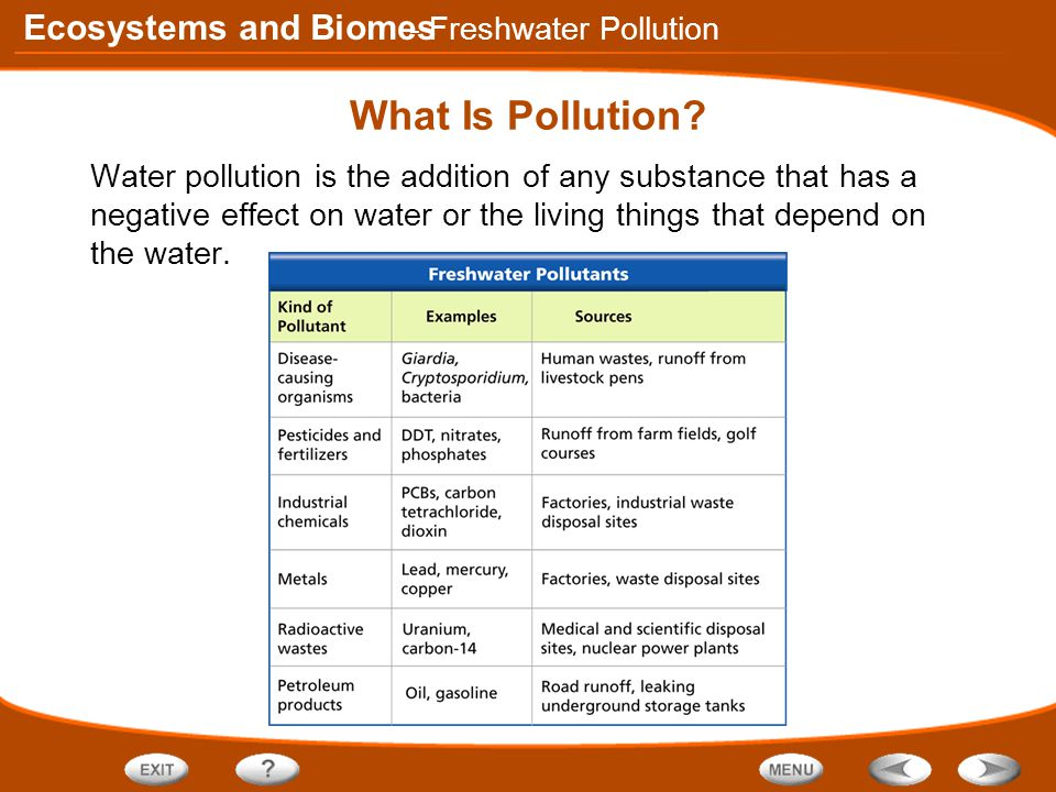 Ecosystems and Biomes What Is Pollution.