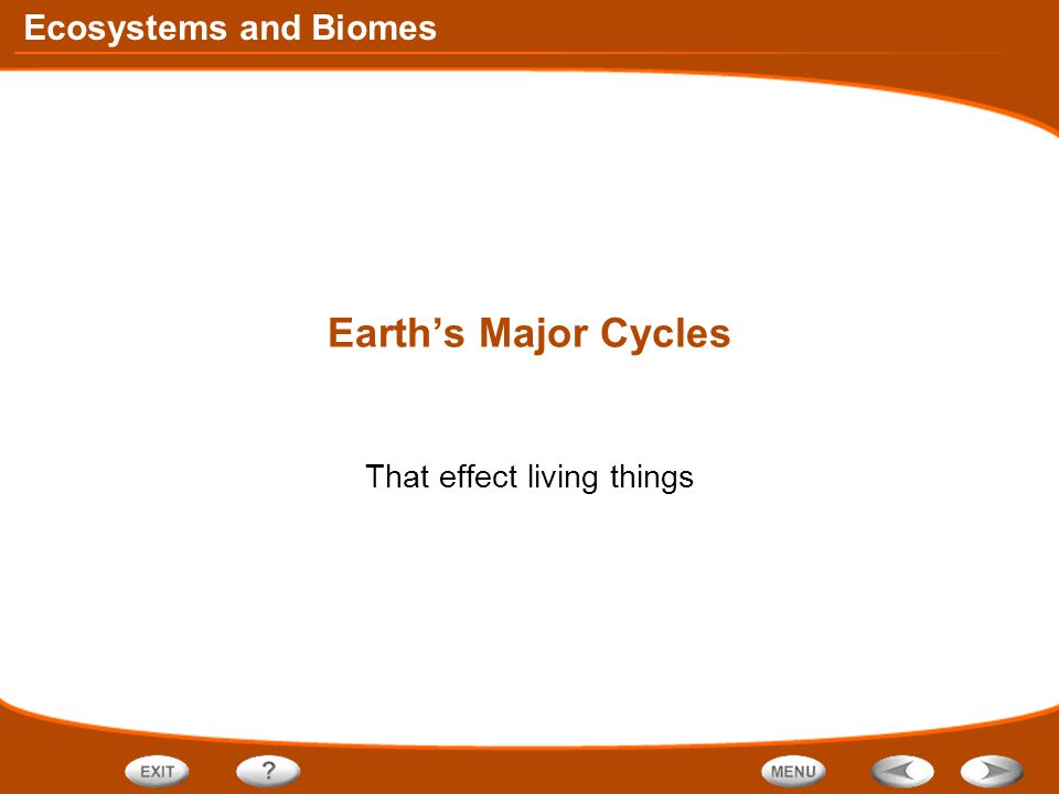 Ecosystems and Biomes Earth's Major Cycles That effect living things