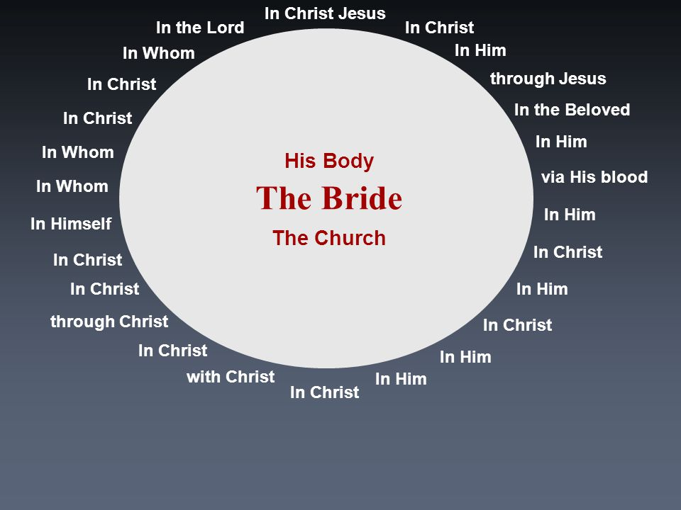 In Christ In Christ Jesus In Him through Jesus In the Beloved In Him via His blood In Him In Christ In Him In Christ In Him In Christ with Christ In Christ through Christ In Christ In Himself In Whom In Christ In the Lord The Bride The Church His Body