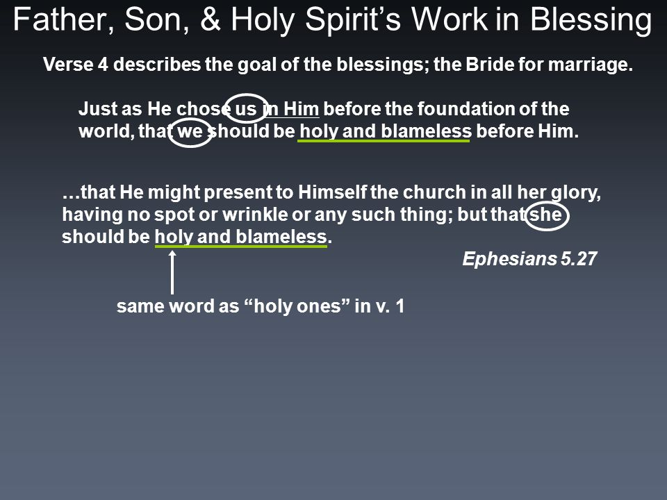 Father, Son, & Holy Spirit's Work in Blessing Verse 4 describes the goal of the blessings; the Bride for marriage.