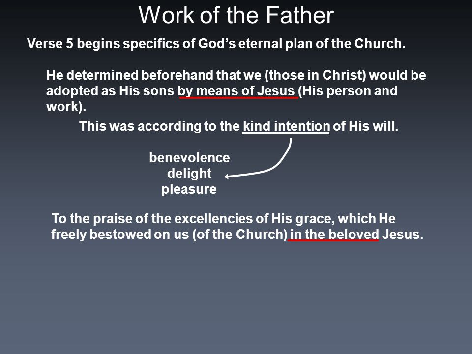 Work of the Father Verse 5 begins specifics of God's eternal plan of the Church.
