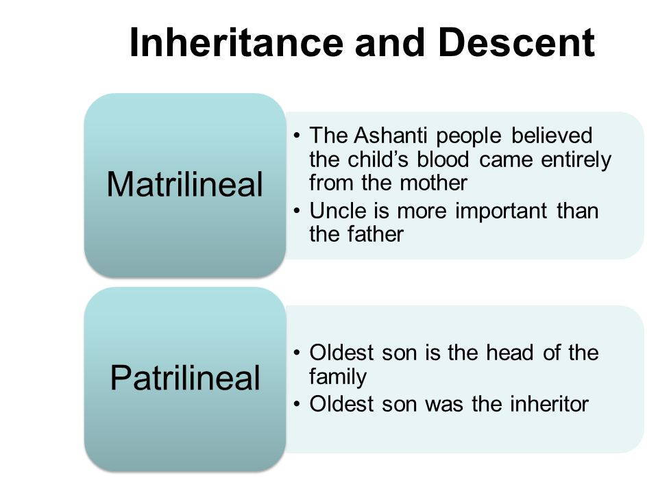Traditional Societies: Family Descent –Patrilineal  trace ancestors through fathers –Matrilineal  trace ancestors through mothers 20% of African societies are matrilineal today