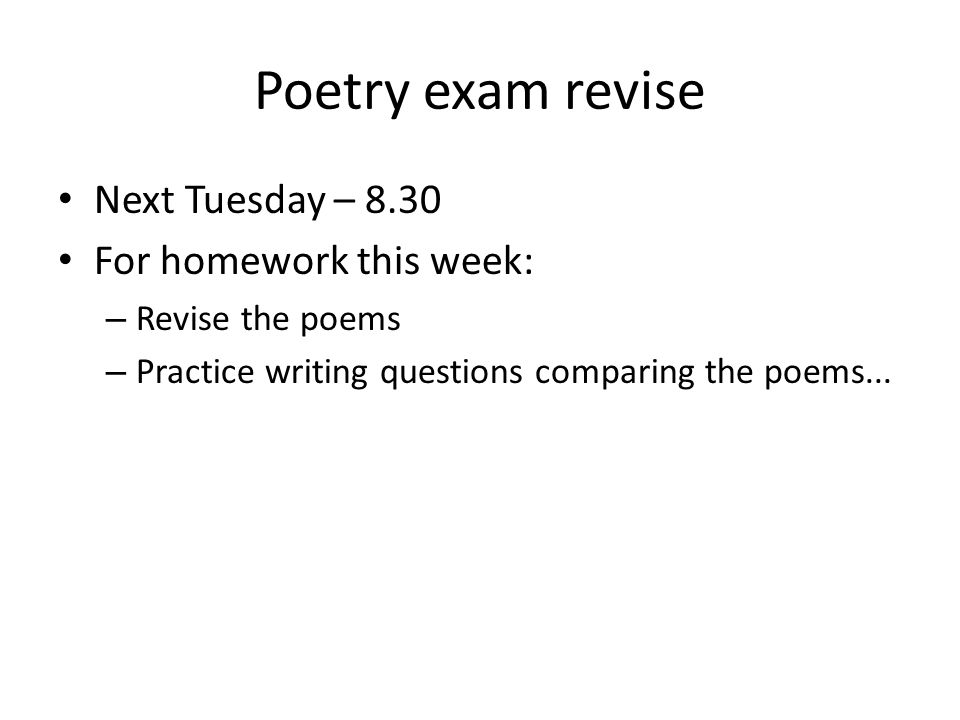 Poems on homework