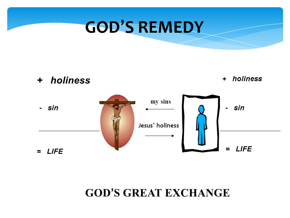 GOD'S REMEDY + holiness - sin = LIFE + holiness - sin = LIFE my sins Jesus' holiness GOD'S GREAT EXCHANGE
