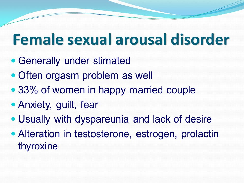female sexual arousal disorder 62352 female sexual dysfunction female sexual dysfunction (fsd) is a complex and controversial disorder that includes components of desire and arousal and orgasmic and sex pain disorders (dyspareunia and vaginismus) 14,15 fsd consists of four recognized disorders: hypoactive sexual desire disorder (hsdd) associated with decreased arousal.