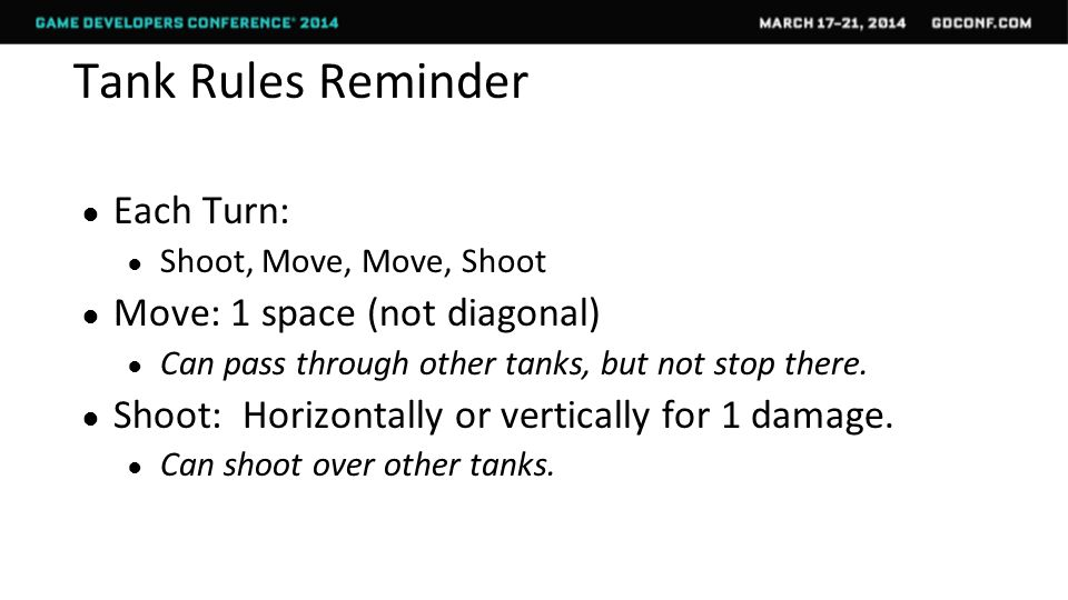 Tank Rules Reminder ● Each Turn: ● Shoot, Move, Move, Shoot ● Move: 1 space (not diagonal) ● Can pass through other tanks, but not stop there.
