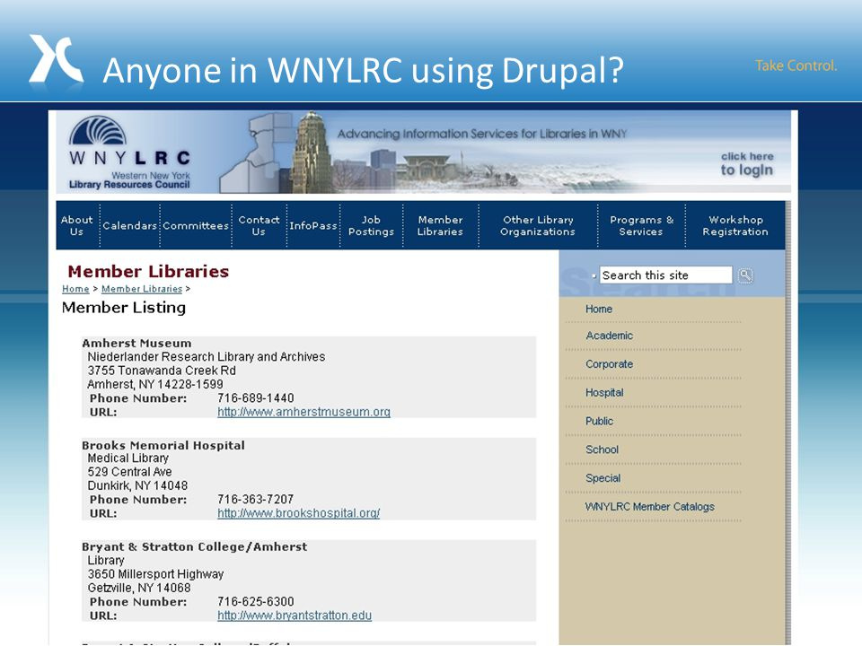 Anyone in WNYLRC using Drupal 104
