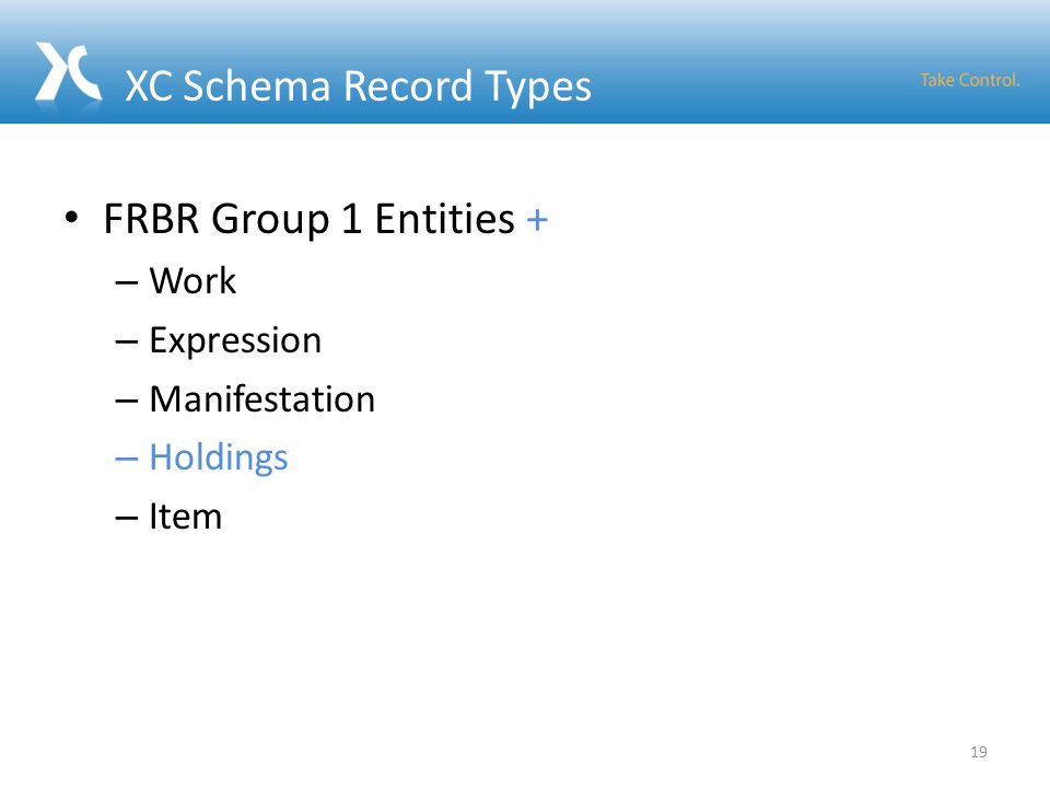 XC Schema Record Types FRBR Group 1 Entities + – Work – Expression – Manifestation – Holdings – Item 19