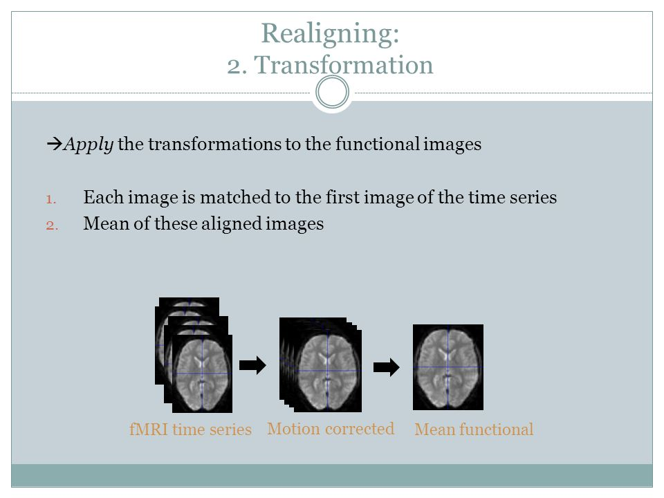 Realigning: 2. Transformation  Apply the transformations to the functional images 1.