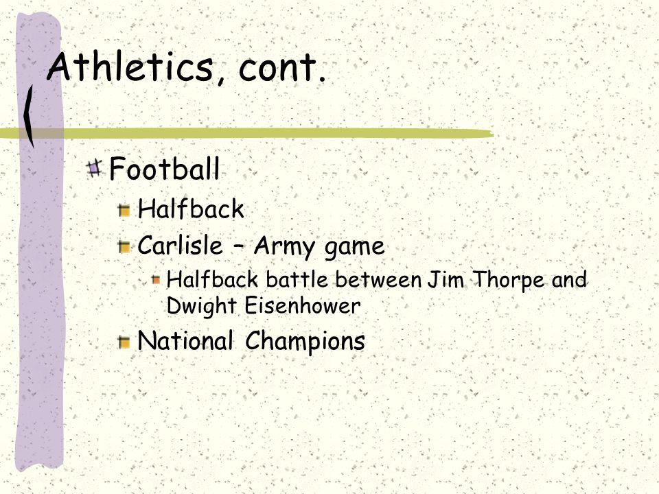 Athletics, cont.