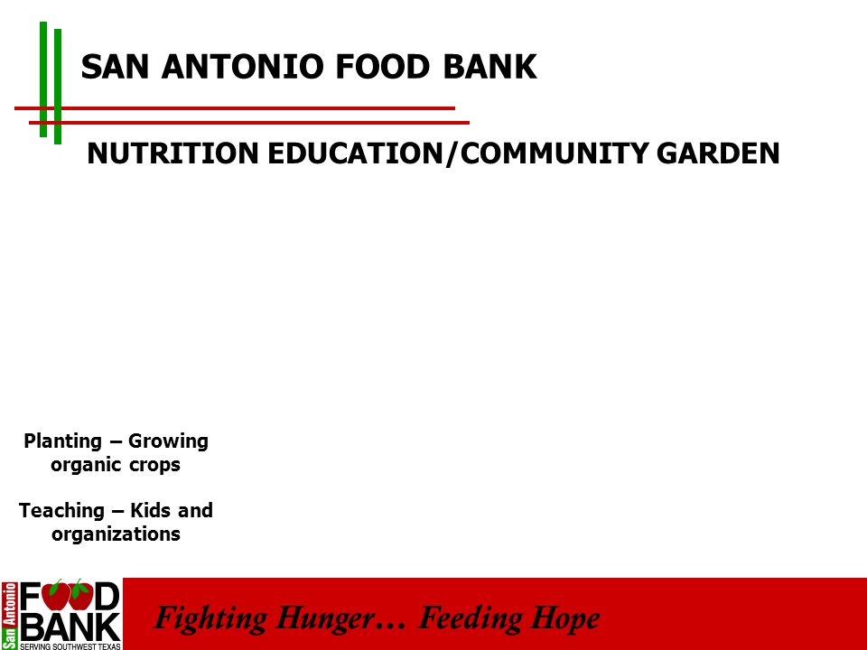 Fighting Hunger… Feeding Hope SAN ANTONIO FOOD BANK NUTRITION EDUCATION/COMMUNITY GARDEN Planting – Growing organic crops Teaching – Kids and organizations