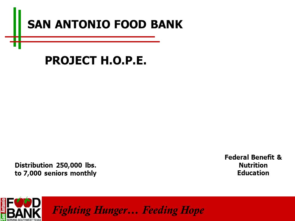 Fighting Hunger… Feeding Hope SAN ANTONIO FOOD BANK PROJECT H.O.P.E.