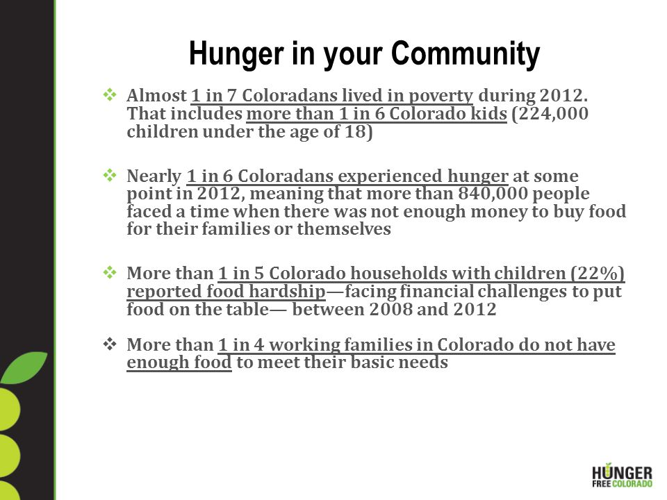 Hunger in your Community  Almost 1 in 7 Coloradans lived in poverty during 2012.