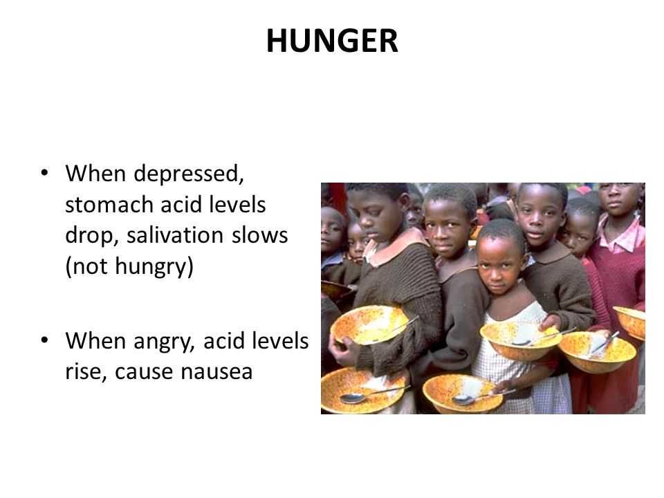 HUNGER When depressed, stomach acid levels drop, salivation slows (not hungry) When angry, acid levels rise, cause nausea