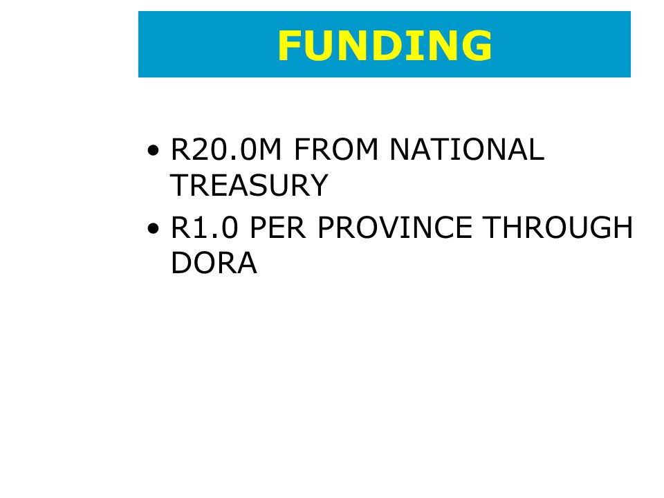 FUNDING R20.0M FROM NATIONAL TREASURY R1.0 PER PROVINCE THROUGH DORA