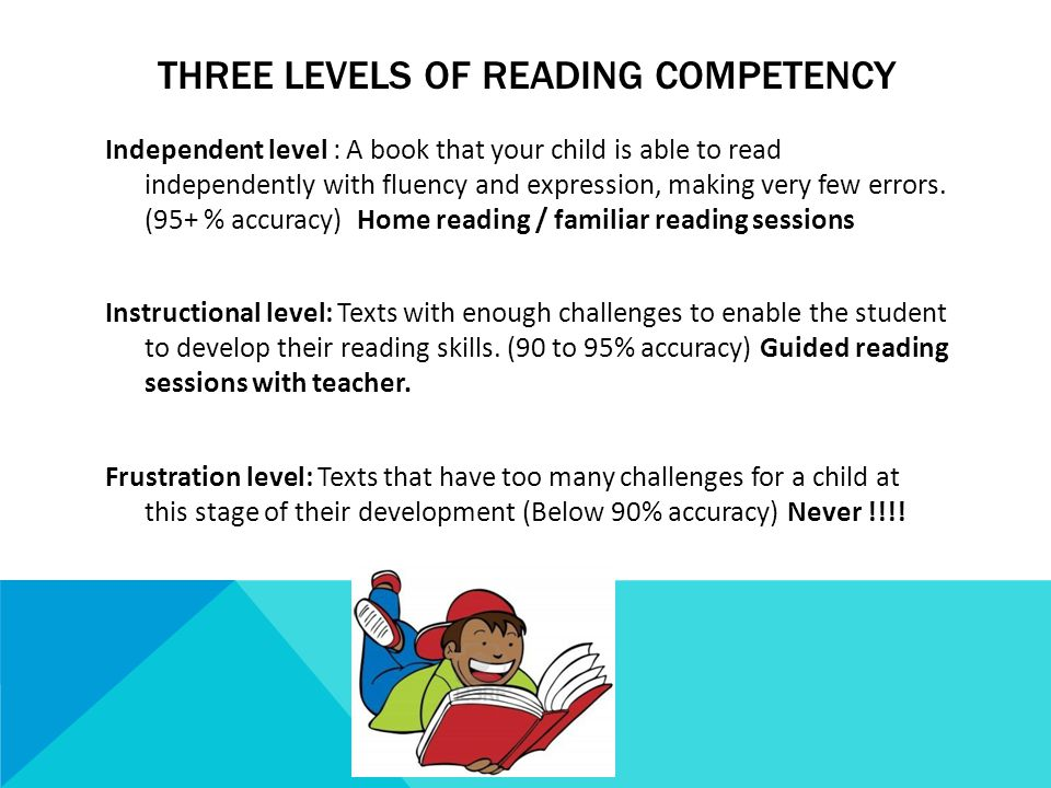 THREE LEVELS OF READING COMPETENCY Independent level : A book that your child is able to read independently with fluency and expression, making very few errors.