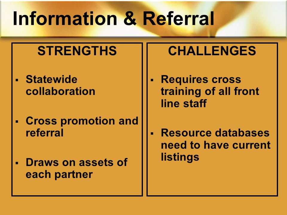 Information & Referral STRENGTHS  Statewide collaboration  Cross promotion and referral  Draws on assets of each partner CHALLENGES  Requires cross training of all front line staff  Resource databases need to have current listings