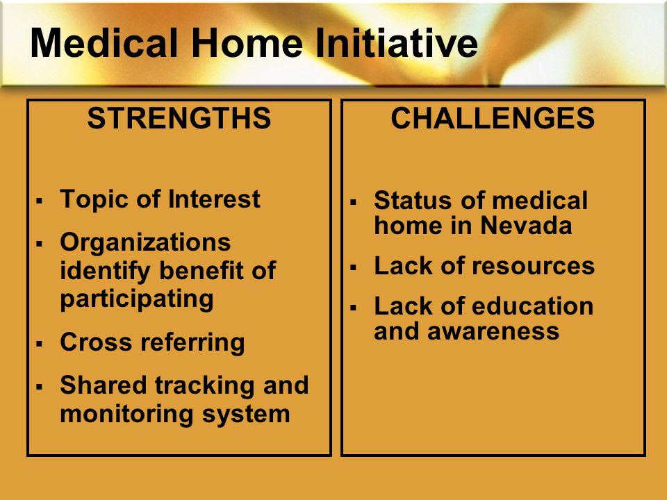 Medical Home Initiative STRENGTHS  Topic of Interest  Organizations identify benefit of participating  Cross referring  Shared tracking and monitoring system CHALLENGES  Status of medical home in Nevada  Lack of resources  Lack of education and awareness