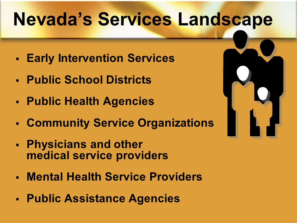 Nevada's Services Landscape  Early Intervention Services  Public School Districts  Public Health Agencies  Community Service Organizations  Physicians and other medical service providers  Mental Health Service Providers  Public Assistance Agencies