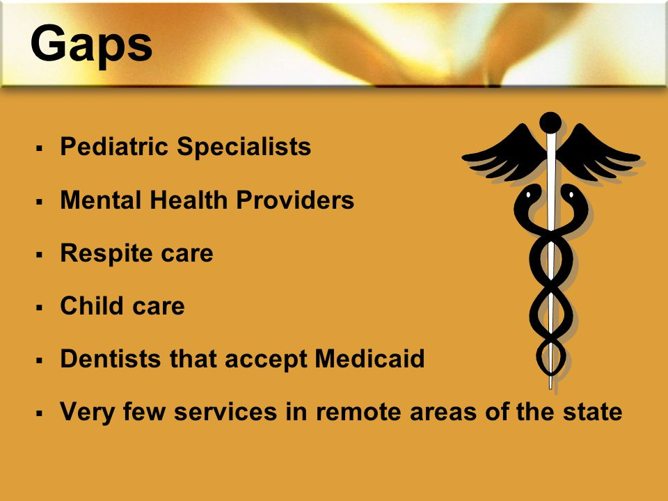  Pediatric Specialists  Mental Health Providers  Respite care  Child care  Dentists that accept Medicaid  Very few services in remote areas of the state Gaps