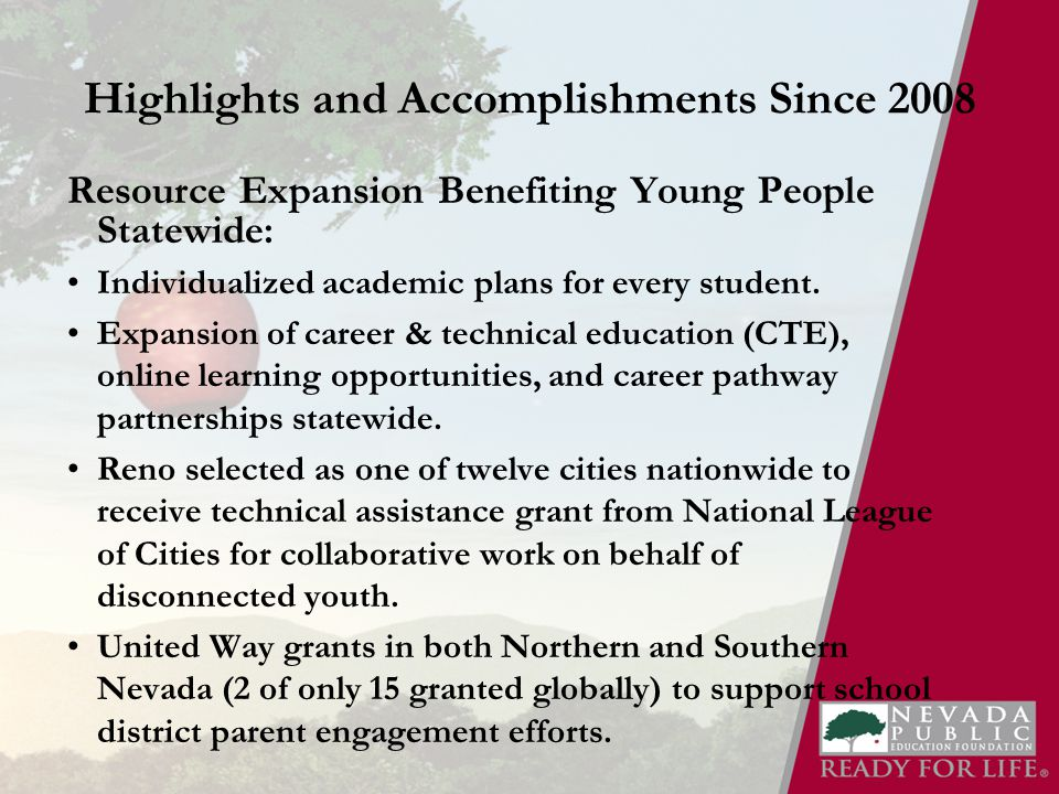 Highlights and Accomplishments Since 2008 Resource Expansion Benefiting Young People Statewide: Individualized academic plans for every student.