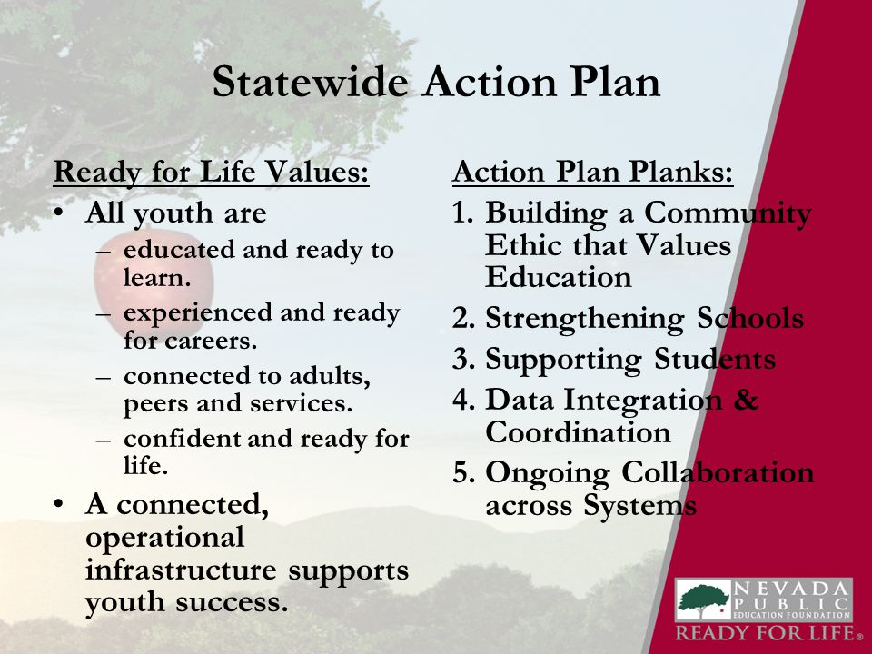 Statewide Action Plan Ready for Life Values: All youth are –educated and ready to learn.