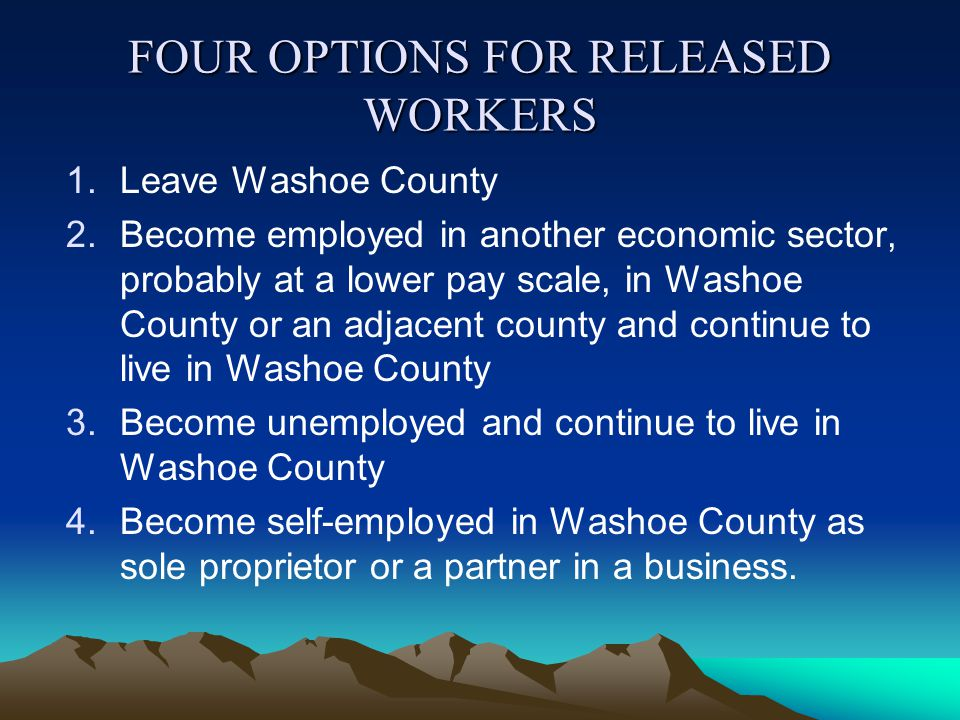 FOUR OPTIONS FOR RELEASED WORKERS 1.Leave Washoe County 2.Become employed in another economic sector, probably at a lower pay scale, in Washoe County or an adjacent county and continue to live in Washoe County 3.Become unemployed and continue to live in Washoe County 4.Become self-employed in Washoe County as sole proprietor or a partner in a business.