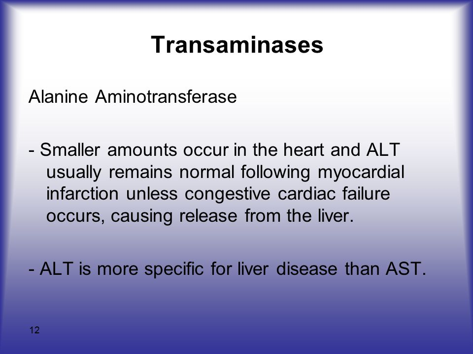 12 Transaminases Alanine Aminotransferase - Smaller amounts occur in the heart and ALT usually remains normal following myocardial infarction unless congestive cardiac failure occurs, causing release from the liver.