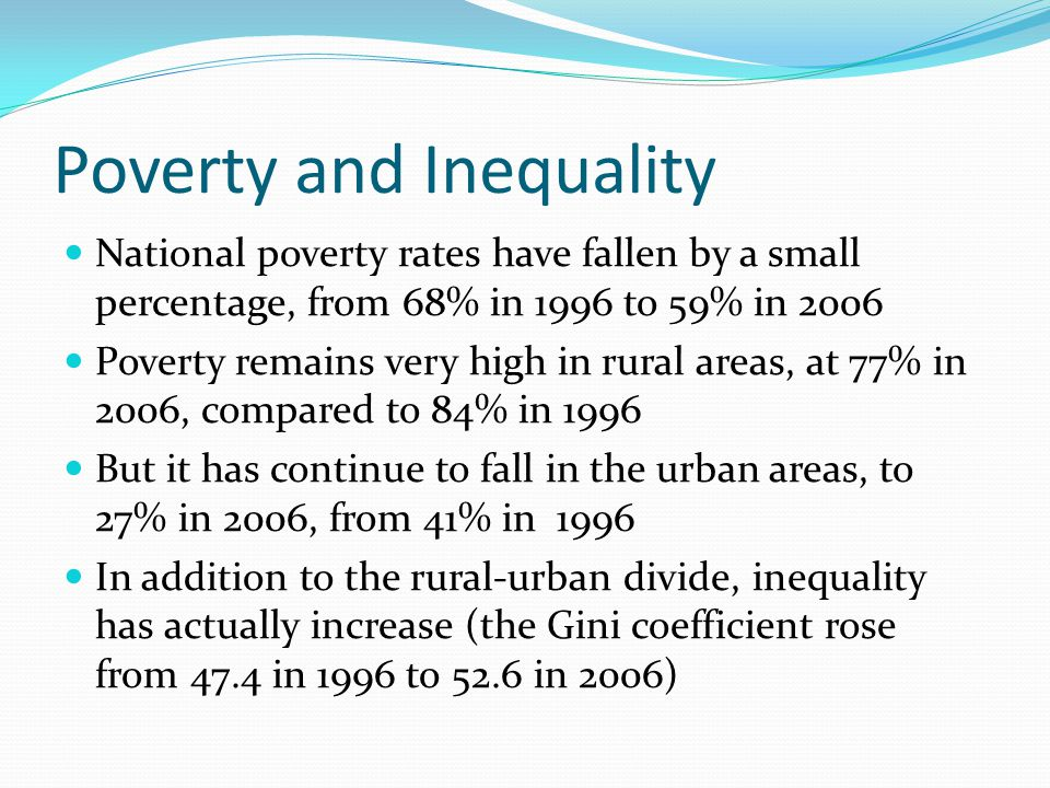 Poverty and Inequality National poverty rates have fallen by a small percentage, from 68% in 1996 to 59% in 2006 Poverty remains very high in rural areas, at 77% in 2006, compared to 84% in 1996 But it has continue to fall in the urban areas, to 27% in 2006, from 41% in 1996 In addition to the rural-urban divide, inequality has actually increase (the Gini coefficient rose from 47.4 in 1996 to 52.6 in 2006)