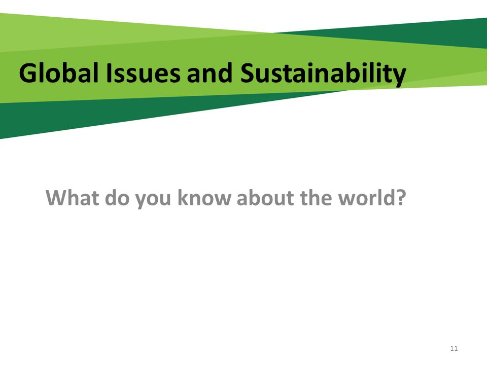 Global Issues and Sustainability What do you know about the world 11
