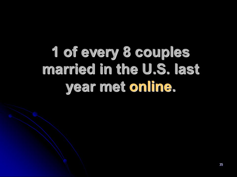 35 1 of every 8 couples married in the U.S. last year met online.