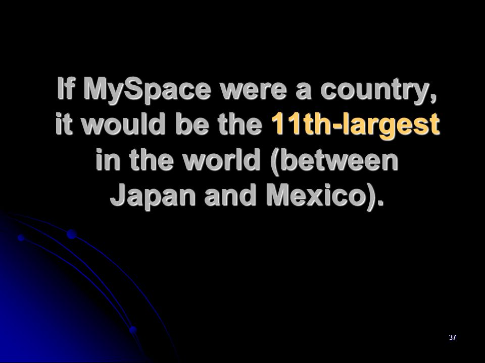 37 If MySpace were a country, it would be the 11th-largest in the world (between Japan and Mexico).