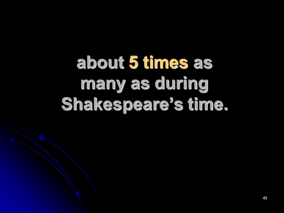 45 about 5 times as many as during Shakespeare's time.