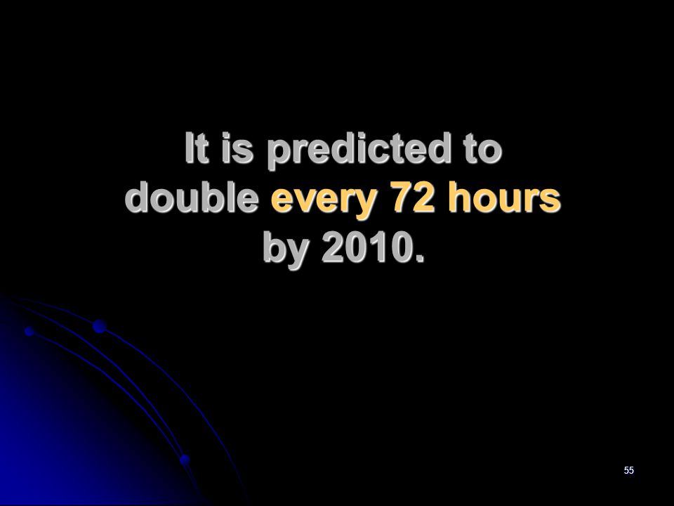 55 It is predicted to double every 72 hours by 2010.