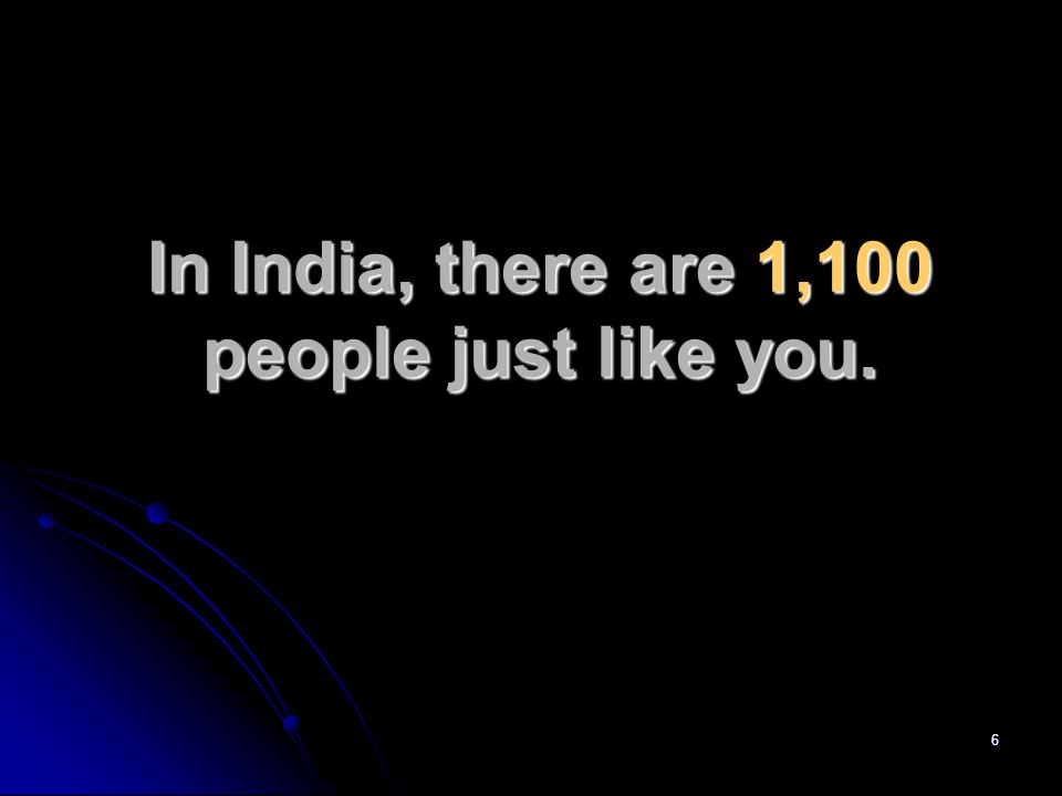 6 In India, there are 1,100 people just like you.