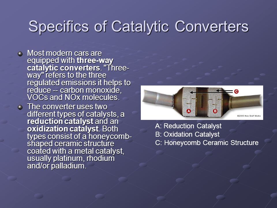 Specifics of Catalytic Converters Most modern cars are equipped with three-way catalytic converters.